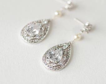 CZ Wedding Earrings, Pearl Bridal Earrings, Gold CZ Drop Earrings, Rose Gold Wedding Jewelry