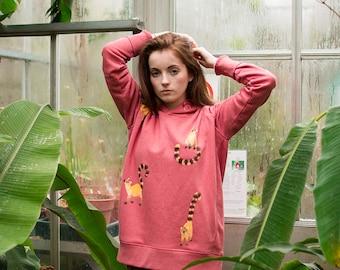 Hand Painted Lemurs, Organic Hoodie