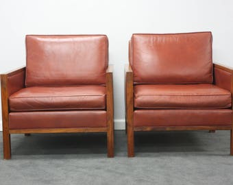 Attractive Pair Of Mid Century Solid Walnut And Genuine Leather Lounge Chairs