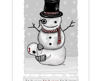 Ennui - Let it Snow - GingerDead Goth Greeting Cards - Gothic Christmas - Blank 5 Pack with envelopes