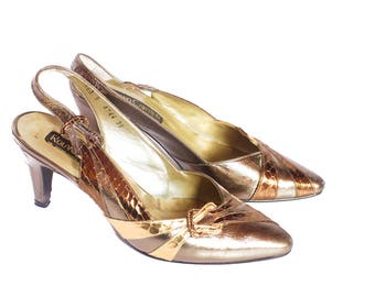 Vintage gold stiletto heels UK 5