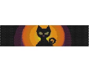 Peyote Bracelet Pattern Halloween Black Kitty