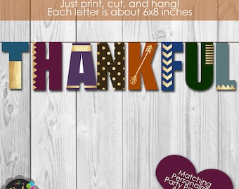 Thankful Thanksgiving Banner Instant Download
