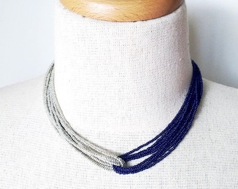 Deep navy blue and silver necklace,  blue necklace, blue and gray necklace, bridesmaid necklace, bridesmaid gift,seed bead necklace,choker