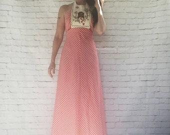 Vintage 70s Dangerous Curves Red Gingham Halter Maxi Dress S Young Edwardian Cross Stitch Embroidered