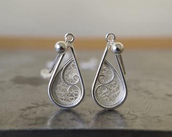 Filigree Teardrop Silver Earrings, Teardrop Earrings, Sterling Silver Earrings, Silver Dangle Earrings, Handmade Filigree Earrings