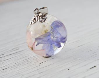 Terrarium jewelry Inspirational gift Terrarium necklace Delphinium jewelry Real flower necklace Botanical resin necklace Nature Jewelry