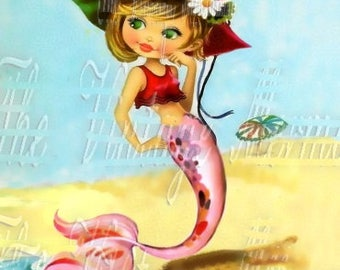 Vintage Mermaid Fabric Greeting Card Merbaby Altered Art Quilting Block BM118