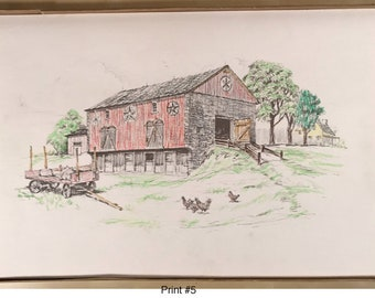 Vintage Hand Colored Barn with Chickens Print #5