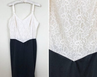30% Off Sale 60s Cream Lace and Black Nylon Two Tone Full Slip, Size XS to Small