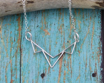 Sterling Silver, Modern, Open Triangle Trio Necklace on a 16, 17, 18, 19 or 20-Inch Sterling Silver Cable Chain; Casual, Everyday Necklace