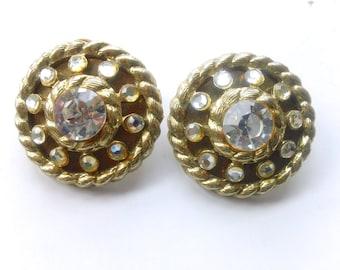 Madmen Rhinestone Statement Earrings Retro Glamour Fashion Jewelry