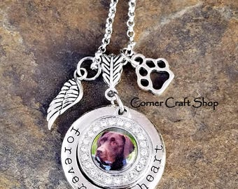 Forever in My Heart Pet Memorial Personalized Custom Photo Charm Necklace In Memory of Pet Loss Rhinestone Charm Paw Print Angel Wing Charm
