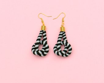 Gray And Black Fabric Knot Earrings For Her, Textile Rope Earrings For Women, Unique Gift, Jewelry For Her