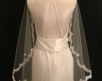 Elbow Length Champagne Veil With Cream Lace and Pink Crystals