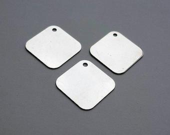 3 Silver Stamping Blanks - 1 Inch - Metal Stamping Hand Stamping Jewelry Metal Work Hand Stamped Charms Pendants - Bella Mia Beads