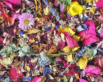 Random Mix 100% Natural Dried Flower Petals Biodegradable Confetti Rose Delphinium Lavender Multicoloured Pot Pourri Home Fragrance