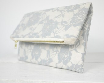 Gray lace clutch, fold over grey lace clutch | Light Gray Rose Lace Clutch