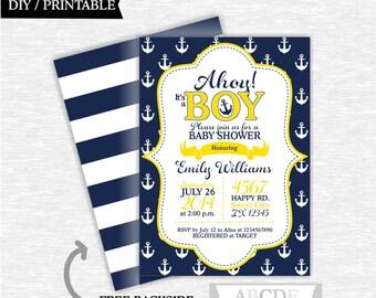 Yellow and Navy Baby Shower invitation Nautical baby Shower DIY Printable (PDNMO001)