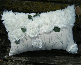 White fabric flowers on natural, not white Cotton Canvas Pillow