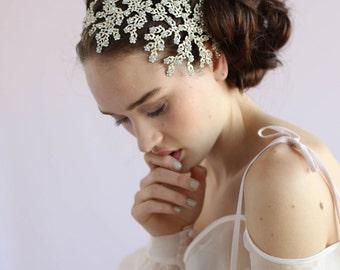 Floral bridal headpiece - Ornate daisy crystal headpiece - Style 608 - Ready to Ship