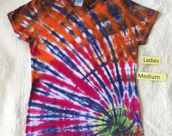 Ladies Medium Multi-Color Spiral Short Sleeve Tie Dye T-Shirt