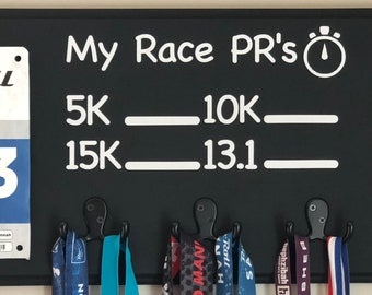 Chalkboard PR, Running Medal Holder Race Bib Display, Ready to Ship