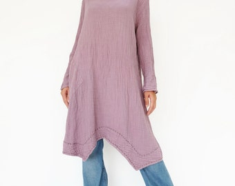 NO.201 Dusty Lilac Double Cotton Gauze Long Sleeves Tunic Dress, Boat-Neck Dress, Stitch  Detail Tunic, Women's Tunic