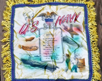 U. S. Navy Mother Vintage Souvenir Pillow Cover Poem - Satin Yellow