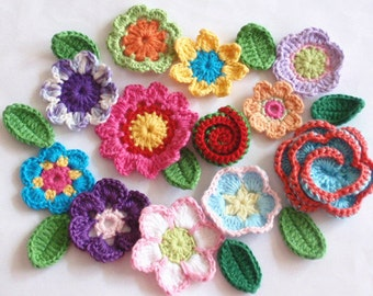 12 Crochet  Flowers With 8 leaves Applique YH - 170-01
