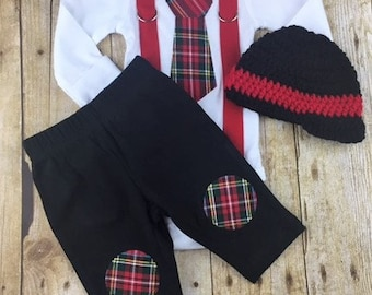 Ready to Ship Baby Boy Christmas Outfit, Christmas Plaid Baby Boy