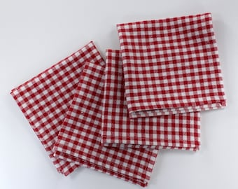 Gingham napkins, red white napkins, cotton napkins, red gingham decor, country living, checkered napkins, picnic supplies, 12x12inches
