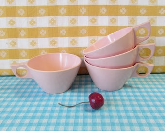 Pink Melmac Coffee Cups - Texas Ware  - Set of 4 - MORE AVAILABLE - Melamine - Hard Plastic - Travel Trailer  - Mid Century Vintage 1960's