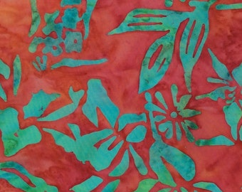 Bamboo Leaf Batik Fabric - Artisan Indonesian from Majestic Batiks - D 191 Red, Priced by the 1/2 yard