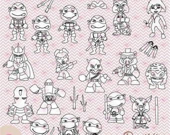 Ninja Turtles, Digital Stamp, PNG, 300 dpi