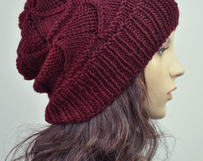 hand knit wool Hat winter hat wine burgundy woman hat