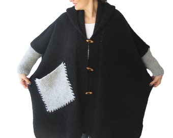 Plus Size Over Size Black Mohair Overcoat - Poncho - Pelerine with Hood and Gray Pocket
