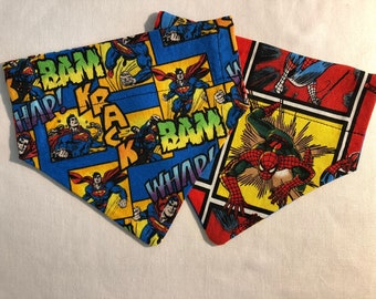 reversible over the collar Dog Bandana/Scarf/Superman/Spiderman/comic/super hero/Dog/Puppy/Personalized/size Small