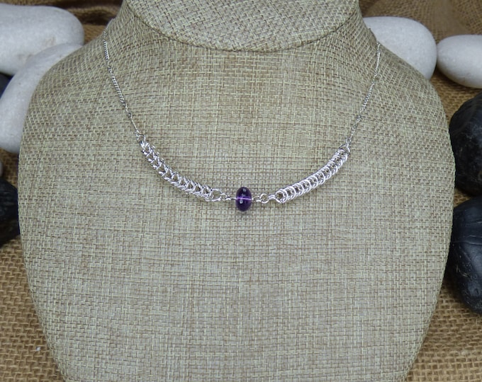 Featured listing image: Sterling Silver Amethyst Accent Chainmail Necklace - Silver February Birthstone necklace - Amethyst Birhtstone Necklace - Silver Necklace