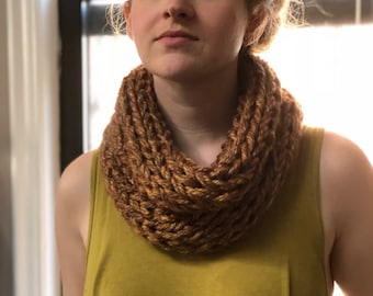 Super Chunky Acrylic Scarf Cowl Tan Bronze Sunset Cozy Thick Soft Best Washable Dryable Handmade Infinity