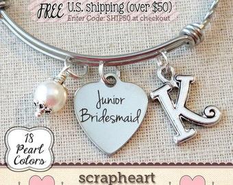 Jr BRIDESMAID Bracelet, Junior Bridesmaid Gift, Personalized Wedding Jewelry, Personalized Bridesmaid Keepsake, Junior BRIDESMAID Thank You