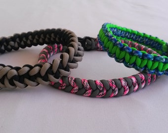 Dog Collar, Custom Made, Choice of  weave, Non-Adjustable, Paracord 550, Many colours