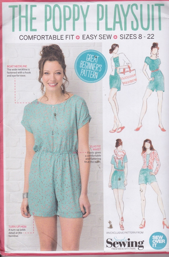 Simply Sewing The Poppy Playsuit Sizes 8-22 British Pattern UNCUT ...