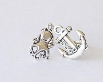 Nautical Stud Earrings Silver Anchor Octopus Earrings Mismatched Beach Earrings Kawaii Octopus Studs Silver Squid Earrings Silver Anchors