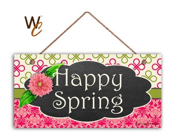 Happy Spring Sign Pink And Green Patterns 5 X 10