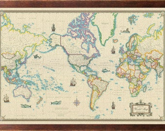 Modern world map etsy world modern day as antique giclee canvas wall map framed walnut gumiabroncs Gallery