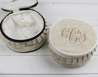 Monogram Jewelry Case - Jewelry Bag - Travel Gift - Graduation Gift - Bridesmaids Gift