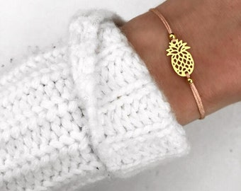Bracelet pineapple connector gold peach filigree tropical summer