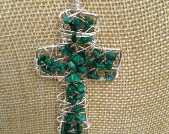 Chunky Wire Cross with Green Malachite Gemstones