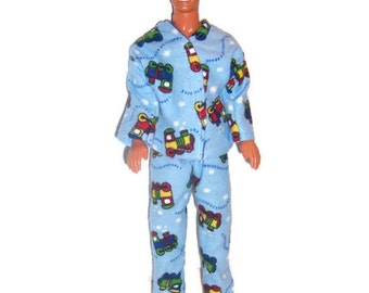His Fashion Doll Clothes-Train Print Flannel Pajamas